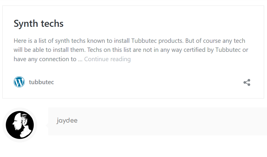 Tubbutec Synth Tech List
